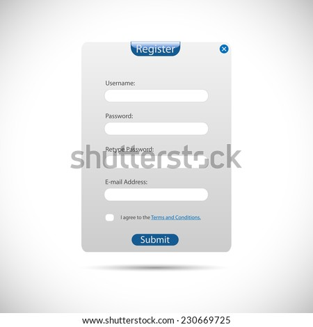 Illustration of a web register panel isolated on a white background. - stock vector