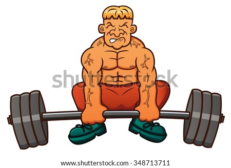 Illustration of a weight lifter lifting heavy barbell - stock vector
