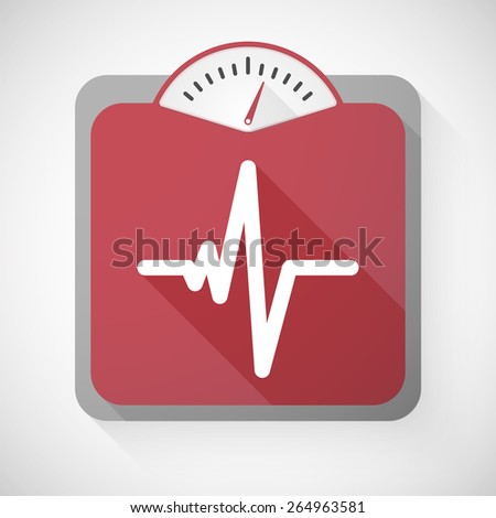 Illustration of a weight scale with a heart beat sign - stock vector