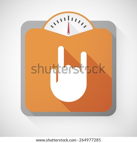 Illustration of a weight scale with a rock hand - stock vector