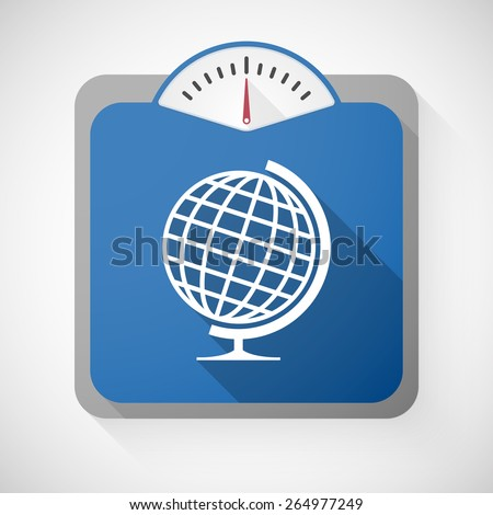 Illustration of a weight scale with a world globe - stock vector