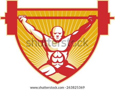 Illustration of a weightlifter lifting barbell weights viewed from front set inside shield done in retro style. - stock vector