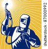 illustration of a welder welding holding up welding equipment facing front done in retro woodcut style. - stock photo