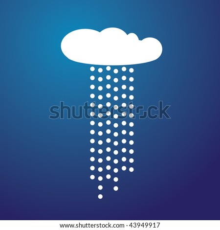 Illustration of a White cloud with rain and blue background - stock vector