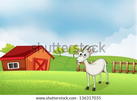 Illustration of a white goat at the farm - stock vector