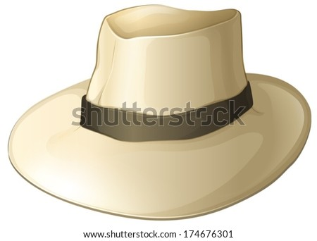 Illustration of a white hat on a white background