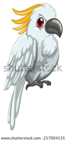 illustration of a white parrot  - stock vector