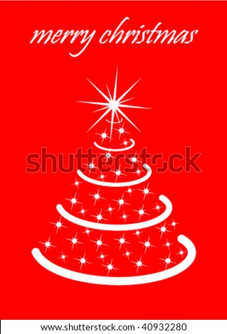 Illustration of a white tree on red background, with wishes for a merry Christmas - stock vector