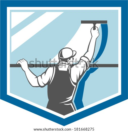 Illustration of a window washer cleaner cleaning a window with squeegee viewed from rear angle set inside shield on isolated background done in retro style. - stock vector