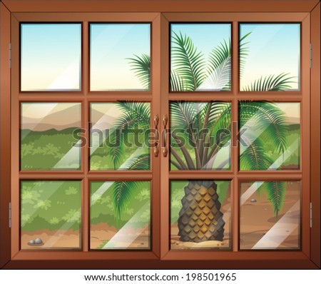 Illustration of a window with a view of the palm plant outdoor