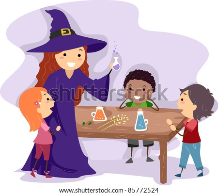 Illustration of a Witch Showing Kids How to Make a Potion - stock vector