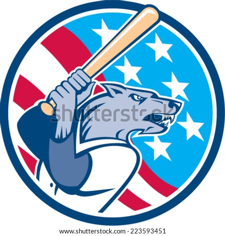 Illustration of a wolf baseball player with bat looking to the side set inside circle with usa stars and stripes  in the background done in retro style.