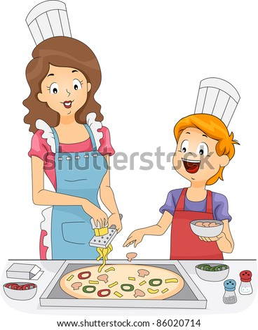 Illustration of a Woman and a Boy Making Homemade Pizza ...