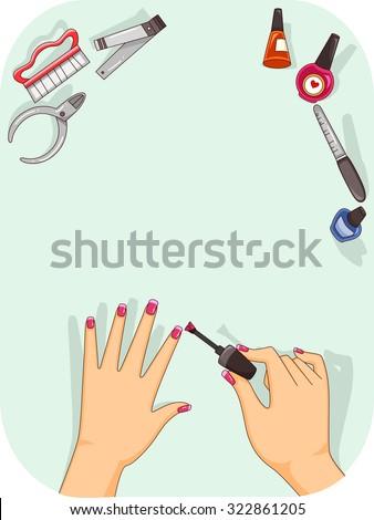 Illustration of a Woman Applying Nail Polish on Her Fingernails - stock vector
