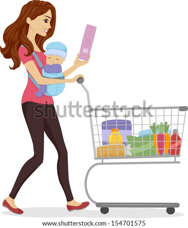 Illustration of a Woman Doing Some Grocery Shopping While Carrying a Baby - stock vector