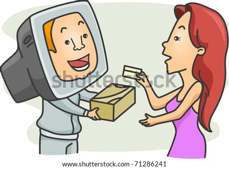 Illustration of a Woman Doing Some Online Shopping - stock vector