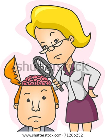Illustration of a Woman Examining the Contents of a Man's Head - stock vector