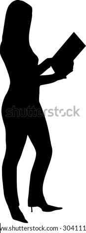illustration of a woman holding a card - stock vector