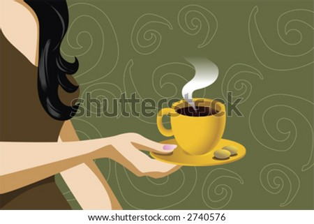 illustration of a woman holding coffee cup with cookies - stock vector
