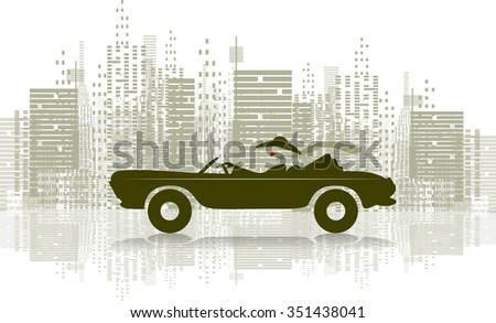 Illustration of a woman in a sports car - stock vector