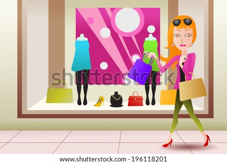 illustration of a woman shopping in front display store - stock vector