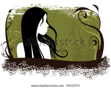 illustration of a woman silhouette with floral elements