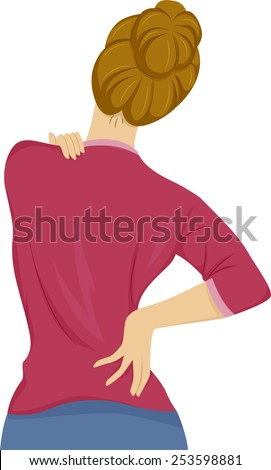 Illustration of a Woman Suffering From Back Pain - stock vector