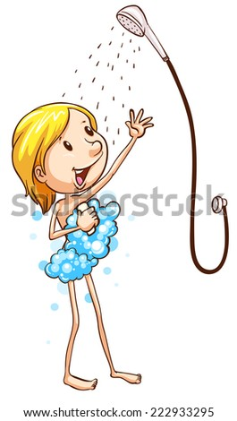 plain drawing young girl taking shower stock vector 233582857 shutterstock. Black Bedroom Furniture Sets. Home Design Ideas