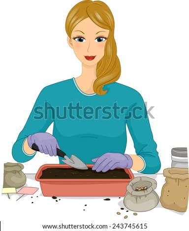 Illustration of a Woman Transferring Soil on a Seedling Tray - stock vector