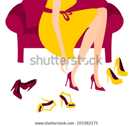 Illustration of a woman trying on elegant high heels.