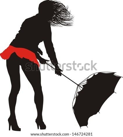 illustration of a woman with raised skirt and  umbrella