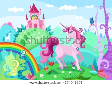 illustration of a wonderful unicorn - stock vector