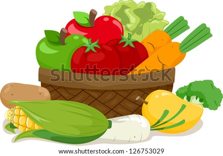 Illustration of a Wooden Basket Filled with an Assortment of Fruits and Vegetables - stock vector