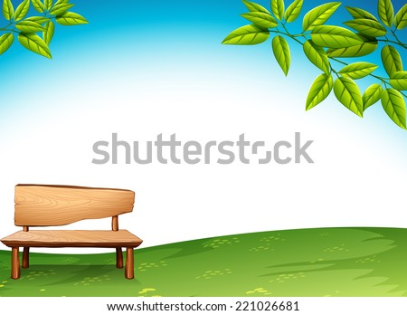 Illustration of a wooden bench - stock vector