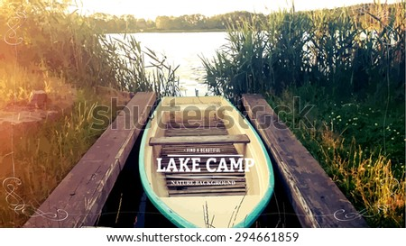 illustration of a wooden canoe on lake background - stock vector