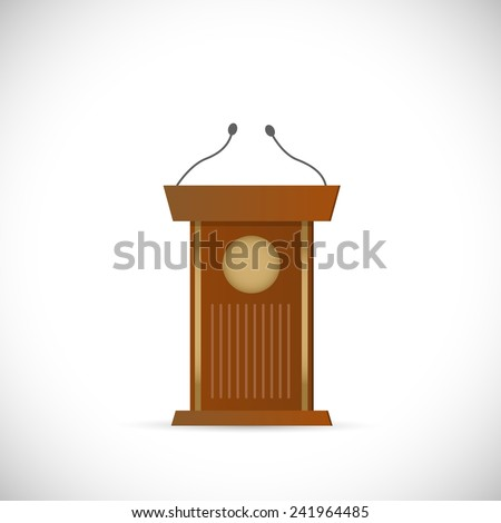 Illustration of a wooden podium isolated on a white background. - stock vector