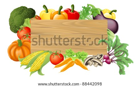 Illustration of a wooden sign surrounded by fresh vegetables - stock vector