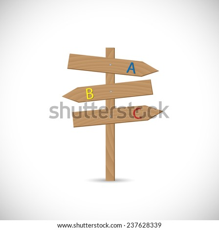 Illustration of a wooden signpost isolated on a white background. - stock vector