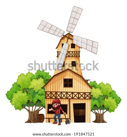 Illustration of a woodman holding an axe beside the wooden building on a white background - stock vector