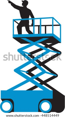 Illustration of a worker on a scissor lift or cherry picker and also known as an aerial work platform aerial device, elevating work platform or mobile elevating work platform done in retro style