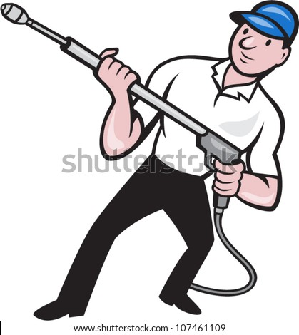 Illustration of a worker with water blaster pressure power washing sprayer spraying set inside circle done in cartoon style. - stock vector