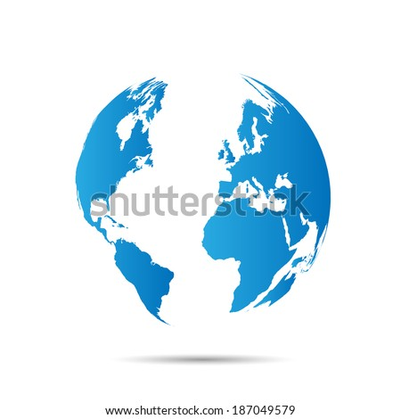 Illustration of a world map isolated on a white background. - stock vector