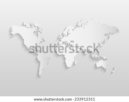 Illustration of a world map on a paper background. - stock vector