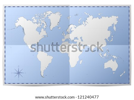 illustration of a world map on folded paper