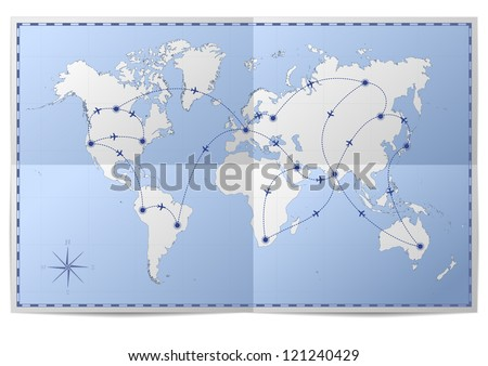 illustration of a world map with flight routes on folded paper - stock vector