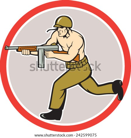 Illustration of a World War two American soldier serviceman running with tommy thompson sub-machine gunon isolated white background  done in cartoon style. - stock vector