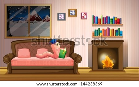 Illustration of a worm reading a book near the fireplace