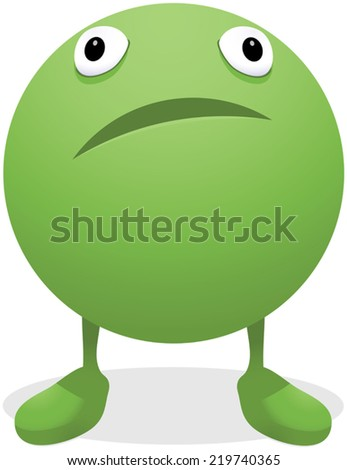 Illustration of a worried green pea - stock vector