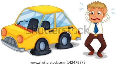 Illustration of a worried man beside a car with flat tires on a white background - stock vector