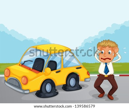 Illustration of a worried man beside his car with flat tires - stock vector